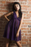 Violet night gown Royalty Free Stock Photography