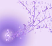 Purple  notes are flying from violin clef 1. Royalty Free Stock Photos