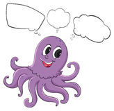 A violet octopus thinking Stock Photography