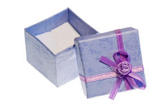 Violet open giftbox isolated on white Stock Images