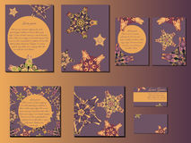 Violet and orange star-like designed brochures, business cards and invitations. Nice hand-drawn illustration Stock Photos
