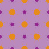 Violet and orange sun on a purple background. Seamless pattern Stock Photography