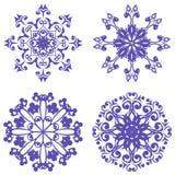 Violet ornamental round lace set Stock Photos