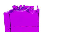 Violet paint fills container, alpha channel included like luma matte. 3d render 16.  stock illustration