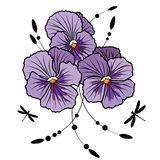 Violet pansies Stock Image