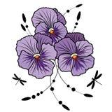 Violet pansies. Vector illustration of flowers of  violet pansies and dragonflies (EPS 10 Stock Image