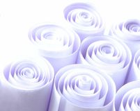 Violet paper rolls. As background stock image