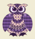 Violet patchwork owl Royalty Free Stock Photos