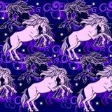 Violet patroon met naadloze eenhoorns Stock Foto