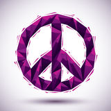 Violet peace geometric icon made in 3d modern style, best for us. E as symbol or design element Stock Photos