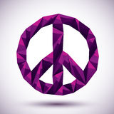 Violet peace geometric icon made in 3d modern style, best for us. E as symbol or design element for web or print layouts Stock Images