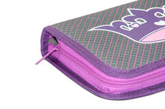 VIOLET PENCIL BOX WITH ZIPPER Stock Image