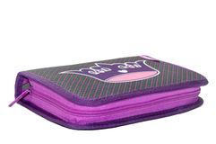 VIOLET PENCIL BOX WITH ZIPPER Royalty Free Stock Photography