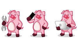 Violet Pig Mascot with laptop Royalty Free Stock Images
