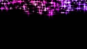 Glittering stars. Violet, pink and blue glittering stars at the top of the black background, copy space for your holiday congrats Stock Photos