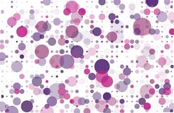 Violet, pink dotted background with circles, dots, point different size, scale. Halftone pattern. Vector illustration Royalty Free Stock Photo