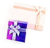 A violet and pink gift box Royalty Free Stock Photography