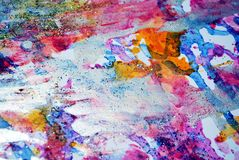 Violet pink pastel forms, abstract pastel hues. Painting yellow violet green blue golden forms and paint spots in pastel hues are placed on abstract playful stock photo
