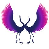 Violet-pink silhouette of an elegant bird. Cranes dance. Multicolored herons. blue purple stork. isolated vector illustration