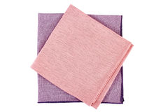 Violet and pink textile napkins on white Royalty Free Stock Photo