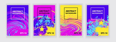 Violet, pink, yellow, blue abstract background. Set of four banners. Bright future abstract vector template. Covers design Royalty Free Stock Images
