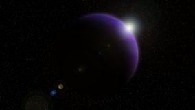 Violet planet with Rising Sun Stock Photography