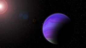 Violet planet with Rising Sun. In space royalty free illustration