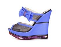 Violet platform shoes Stock Photo