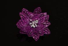 Violet poinsettias christmas decoration Stock Photo
