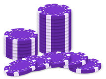 Violet poker chips Royalty Free Stock Photo