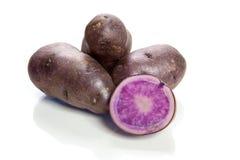 Violet potatoes isolated on white background - vitelotte Royalty Free Stock Photography