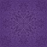 Violet purple Flowers vintage seamless pattern Floral background trendy fashion mandala design stock illustration