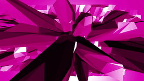 Violet or purple low poly waving surface as decorative environment. Violet geometric vibrating environment or pulsating stock video footage
