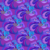 Violet purple peacock feathers seamles pattern background. Royalty Free Stock Photo