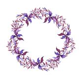 Violet and pink leaf wreath. Hand drawn watercolor. stock illustration