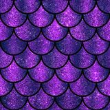 Violet and purple sparkling glitter scales seamless pattern. Design stock photography