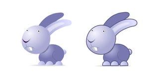 Violet rabbit. Illustration on white, two images Stock Images