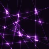 Violet random laser beams on dark background. Template Stock Photo