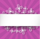 Violet rays background with abstract white flowers and place for text. Stock Images
