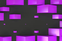 Violet rectangular shapes of random size on black background. Wall of cubes. Abstract background. 3D rendering illustration Royalty Free Stock Photos