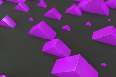 Violet rectangular shapes of random size on black background. Wall of cubes. Abstract background. 3D rendering illustration Royalty Free Stock Photo