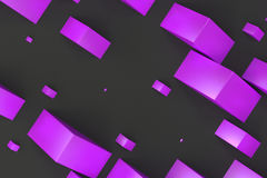 Violet rectangular shapes of random size on black background. Wall of cubes. Abstract background. 3D rendering illustration Stock Photography