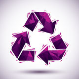 Violet recycle geometric icon made in 3d modern style, best for Royalty Free Stock Photo
