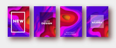 Violet red paper cut wave shapes. Layered curve Origami design for business presentations, flyers, posters. Set of 4 Royalty Free Stock Photography