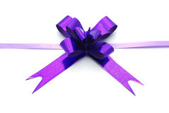Violet ribbon bow Stock Images
