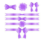 Violet Ribbon and Bow Set for Birthday  Christmas Gift Box. R Royalty Free Stock Photo