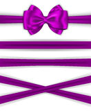 Violet ribbons with luxurious bow for decorating gifts and cards Stock Images