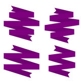 Violet Ribbons Set Immagini Stock