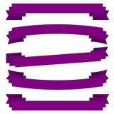 Violet Ribbons Set Fotografie Stock