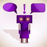 Violet Robot with Message Bubbles. Vector Stock Image